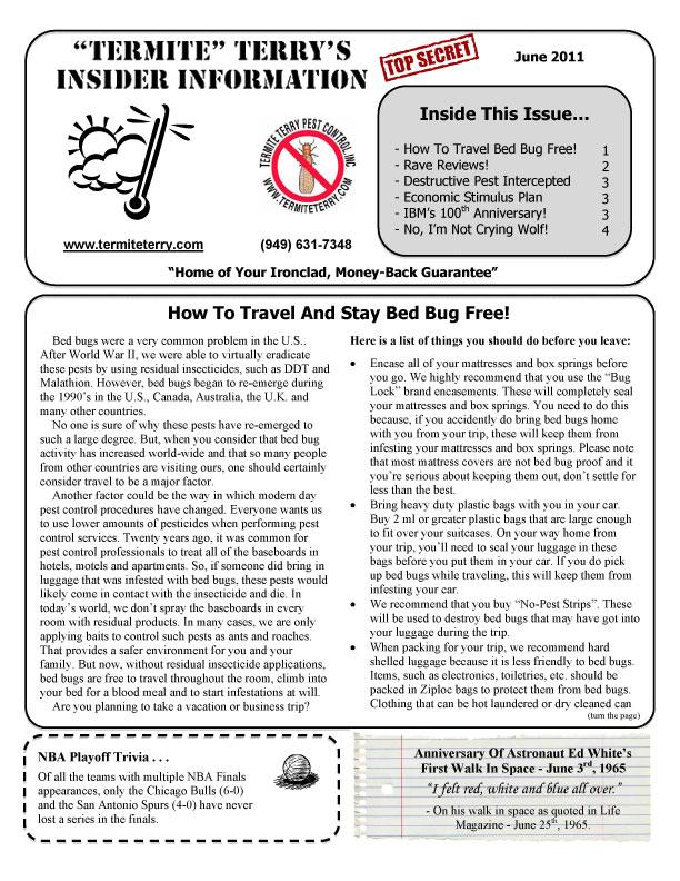 June 2011 Pest Control Newsletter