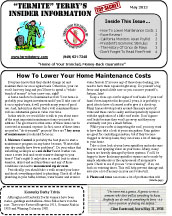 May 2012 Pest Control Newsletter